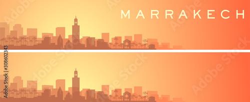 Fotomural  Marrakesh Beautiful Skyline Scenery Banner