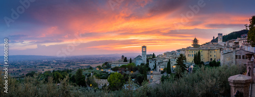 Sunset over Assisi, Umbria, Italy Canvas Print
