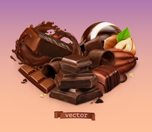 Realistic Chocolate. Chocolate Bar, Splash, Candy, Pieces, Shavings, Cocoa Bean And Hazelnut. 3d Vector
