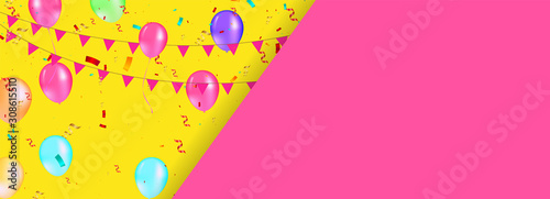 Colorful balloons with triangular party flags, confetti and paper streamers фототапет