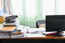 Blurred Of Cluttered Desk, Ful...