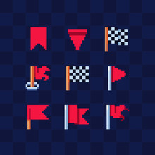 Flag Icon. Checkered Flags. Pixel Art Flat Style. Design For Logo Mobile App, Web, Sticker. 8-bit Sprite. Game Assets. Isolated Abstract Vector Illustration.