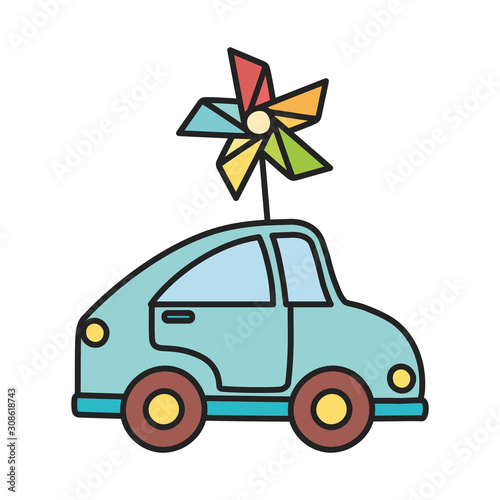 kids toy, plastic blue car and pinwheel toys Canvas-taulu