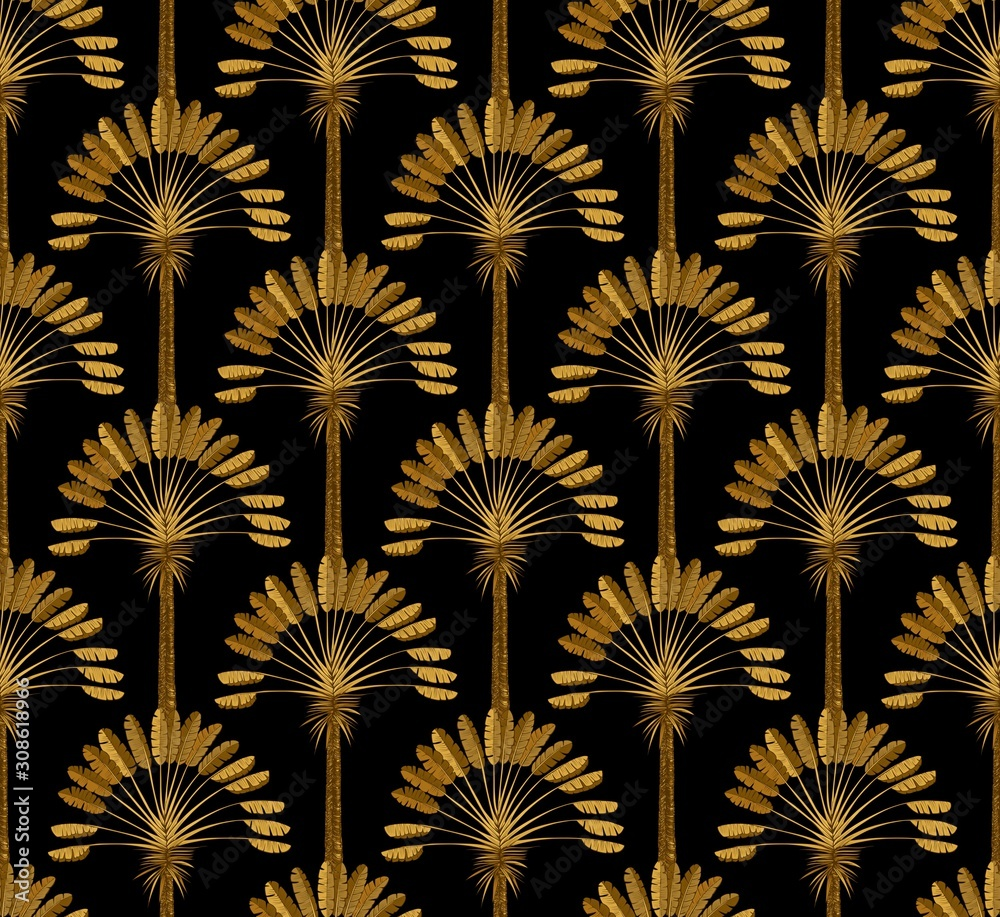 Gold and black Wallpaper with floral pattern in the style of art Deco. Ordered vintage ornament with palm trees.
