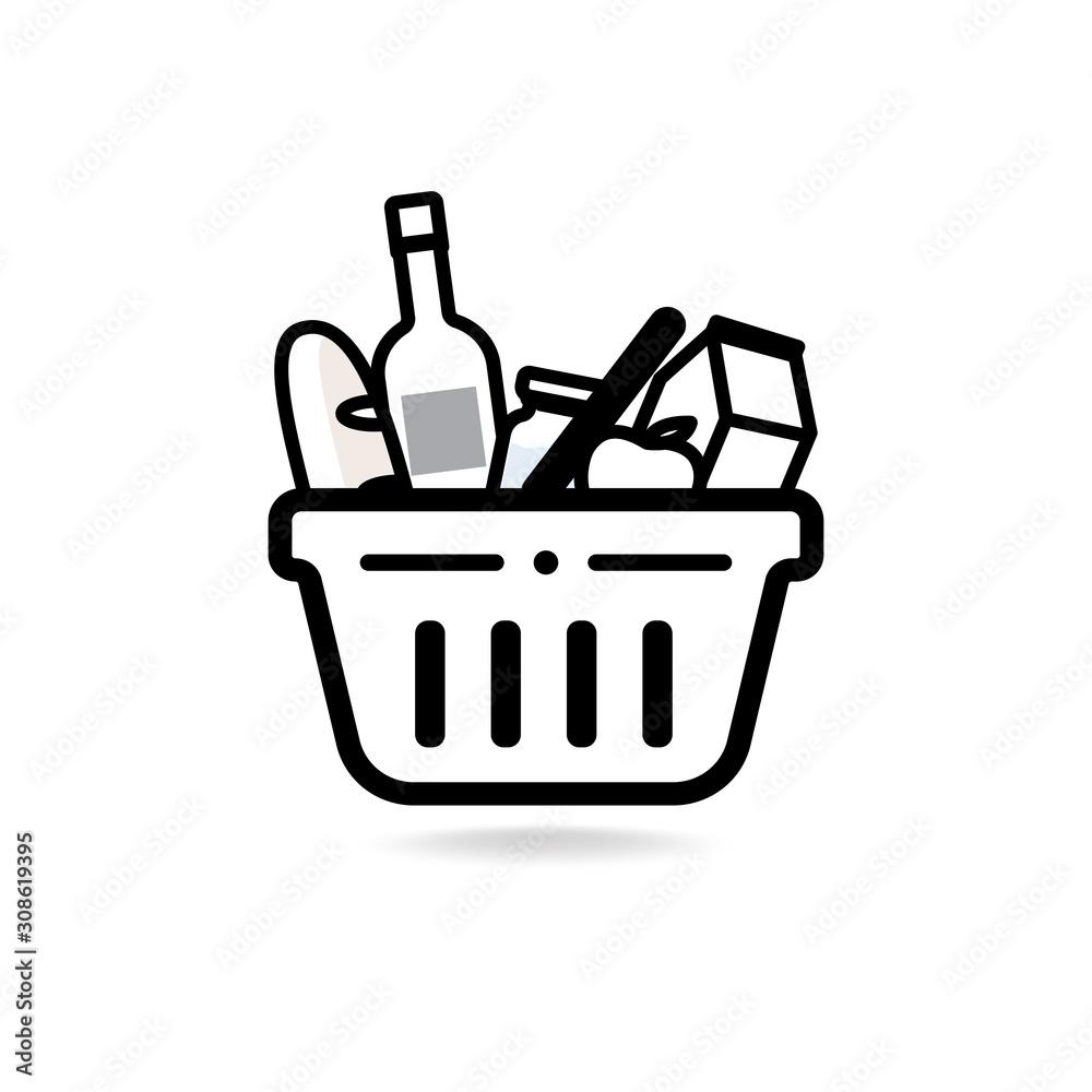 Fototapeta Grocery shopping basket