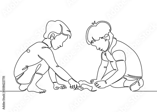 Continuous one single line drawn little children playing in the street in the ch Canvas Print
