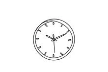 Alarm Clock, Line Drawing Style,vector Design