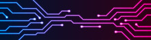 Glowing Blue Purple Neon Circuit Board Chip Abstract Banner Design. Technology Vector Background