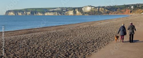 Pebble beach in town of Seaton, Devon on the Jurassic Coast Canvas Print