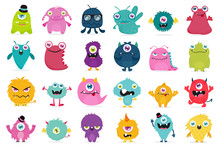 Cute And Kawaii Monster Kids Icon Set.