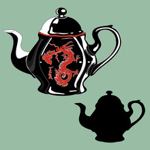 Black Teapot With A Red Dragon Painted On It And The Same Kettle Stencil, Vector Clip Art On A Gray Isolated Background