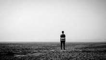 Depressed Man Standing In The ...