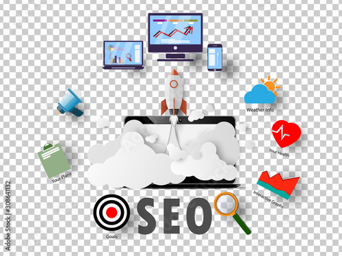 Photo Vector SEO ideas, background graphics and business aspects of the website