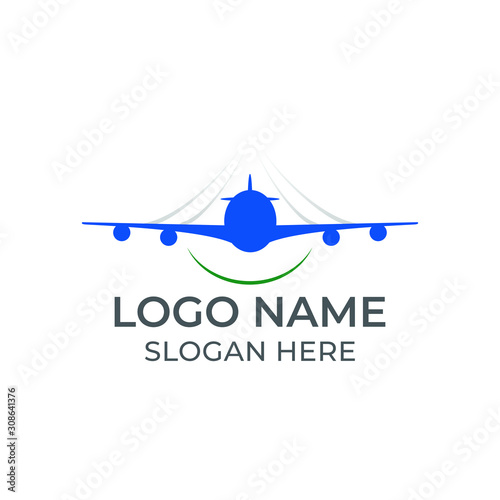 an airplane logo in blue color flying through the sky with green accent beneath Canvas Print