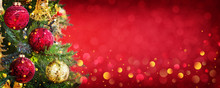 Winter Christmas Decoration With Garland Lights, Holiday Festive Background.