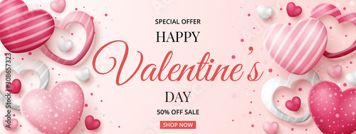 Valentine's day sale banner template with 3D hearts. Vector illustration