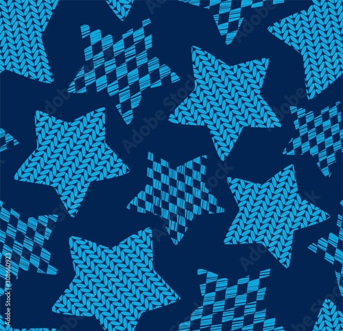 Fototapeta Gwiazdki  knitted-stars-seamless-pattern-blue-vector-effect-of-knitted-fabric-vintage-decor-blue
