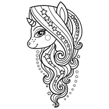 Unicorn With A Long Mane And Stars. Black And White. Vector