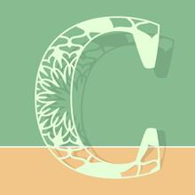 Laser Cutting Letter C. Woodcut Vector Design. Plywood Lasercut Gift. Pattern For Printing, Engraving, Paper Cut. Floral Mandala Design.