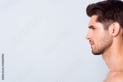 Fotomural  Closeup profile photo of macho model guy perfect neat hairstyle looking empty sp