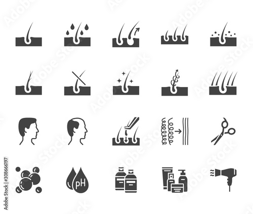 Fotografia  Hair loss treatment flat glyph icons set
