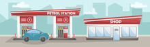 Vector Illustration Of A Car Filling Station With A Shop. Cars At The Petrol Station