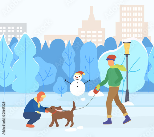 Man and woman walking with dog in winter urban park. Couple active day with domestic animal near trees and skyscrapers view. Male and female training pet near snowman and high building vector