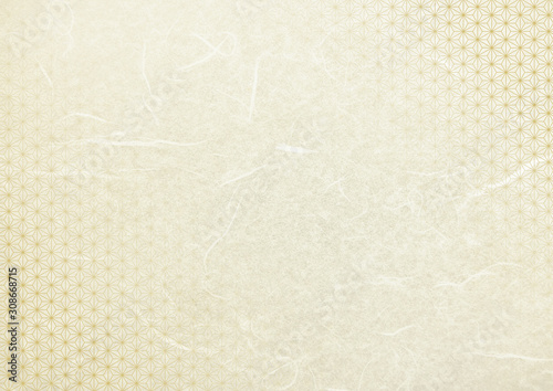 Obraz クリーム色和柄和紙テクスチャ背景素材-麻の葉柄横長 - fototapety do salonu
