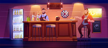 Man In Beer Bar. Visitor At Pu...