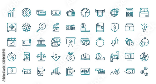 Fotomural economy business financial trade money icons set gradient line