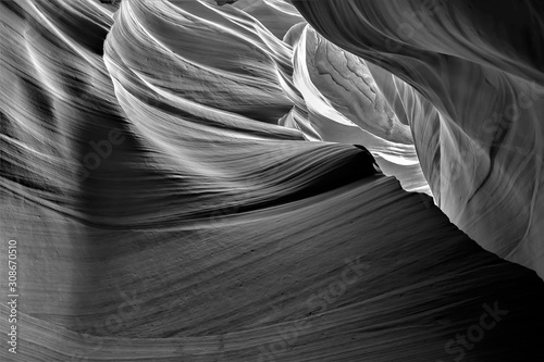Black and white creative photography of Antelope canyon in Arizona, USA. Abst...