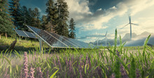 Environmentally Friendly Installation Of Photovoltaic Power Plant And Wind Turbine Farm Situated In Beautiful Fresh Mountain Scenery With Nice Warm Late Afternoon Light. 3d Rendering.