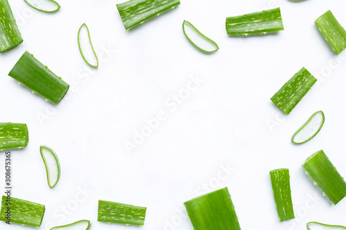 Fotografiet Frame made of aloe vera on white background.