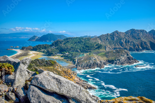 Islas Cies, Vigo, Spain. Vigo estuarys greatest treasure. Galicia. Island connected by beach Playa de Rodas.