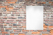 canvas print picture - White blank poster template on brick wall. Clean advertising template with copy space beside