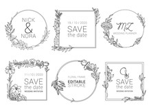 Wedding Invitation Floral Wreath Minimal Design. Vector Template With Flourishes Ornament Elements