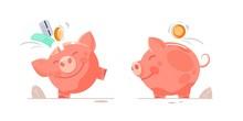 Piggy Bank With Coin. Icon Sav...