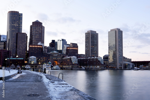 Sticker - Winter view of Boston from the bay and promenade. USA. Massachusetts.