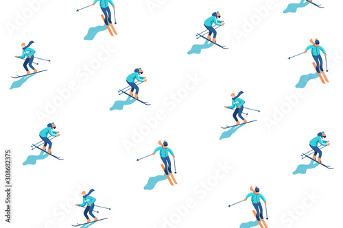 Cuadros en Lienzo Winter vacation background with skiers on mountain