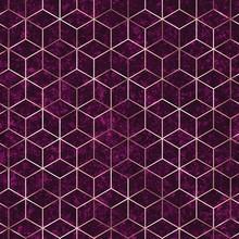 Seamless Geometric Rose Gold Polygons Pattern. Metallic Golden Hexagon Abstract Purple Textured Background