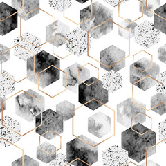 FototapetaSeamless abstract geometric pattern with gold foil outline and gray watercolor hexagons