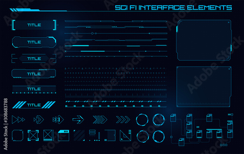 Obraz Set of Sci Fi Modern User Interface Elements. Futuristic Abstract HUD. Good for game UI. Vector Illustration EPS10 - fototapety do salonu