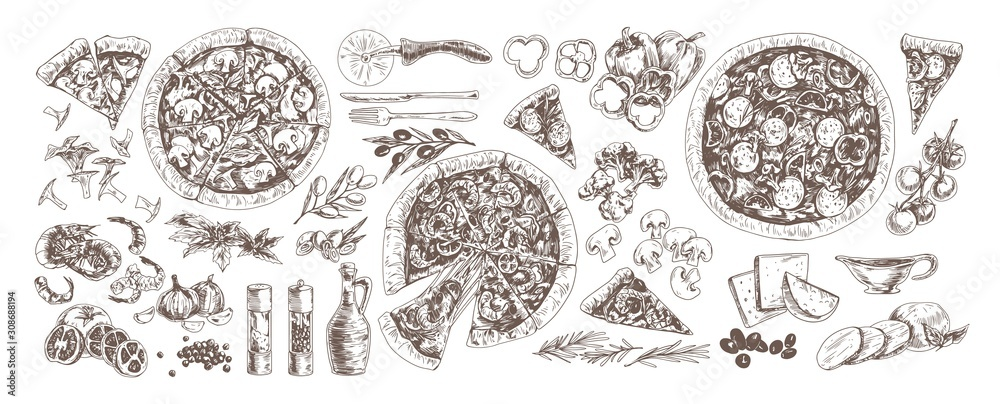 Fototapeta Pizza and ingredients monochrome set. Pepperoni, pizza with mushrooms and seafood hand drawn vector illustrations collection. Shrimp, garlic, chanterelles, cherry tomatoes and broccoli.