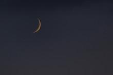 Dark Evening Sky And Half Moon