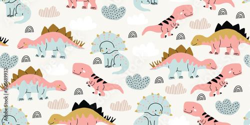 obraz PCV Scandinavian dino dinosaur seamless pattern