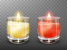 Candle In Glass Realistic Vect...