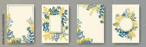 Fotografía  Watercolor herb twigs, tree branches, leaves floral invitation cards templates