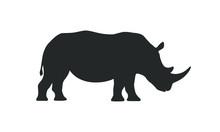 Rhino Graphic Icon. Rhinoceros Sign Isolated On White Background. Wildlife Symbol. Vector Illustration