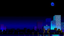 Futuristic Night City. Downtown, Digital Cityscape With Skyscrapers. Retrowave 80s-90s Aesthetics. Pixel Art Game Location. Old Style Video Game. Copy Space