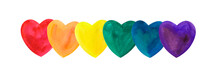 Watercolor Hearts With  LGBT C...